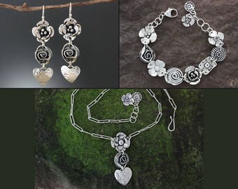 Sterling Silver Jewelry Set - Flower, Rose and Heart Jewelry - Flower Jewelry Set - Floral Jewelry - Silver Flower Necklace - Sherry Tinsman