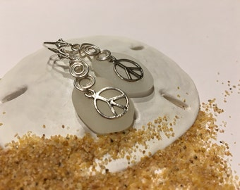Peace Earrings wired Seaglass jewelry Peace SS  earrings SS wire Jewelry, Handmade Custom Jewelry