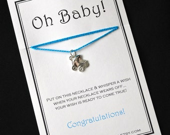 Baby Stroller Buggy Blue Wish Necklace - Buy 3 Items, Get 1 Free