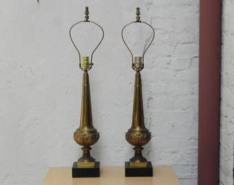 Pair Stiffel Cast Brass Neo Classical Obelisk Table Lamps