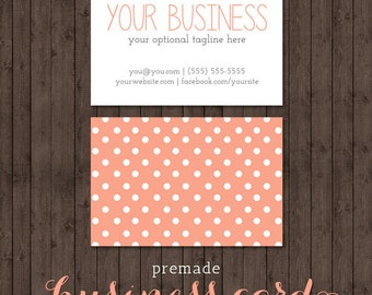 business card design - peach polka dots - we design, you print