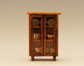 1/4 inch scale miniature-Cabinet with Dishes