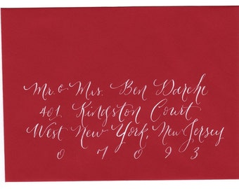 Hand calligraphy addressing  for envelopes wedding and event by Little Flower Calligraphy