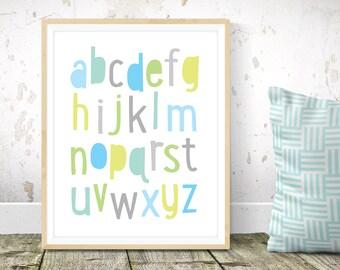 Alphabet nursery print - alphabet print, boys nursery wall art, boys room decor, Scandinavian kids art, modern kids art, simple art print