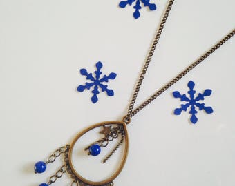 Brass drop, blue glass bead pendant necklace, woman