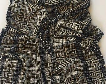 Black & Ivory Handwoven Scarf. Vegan friendly