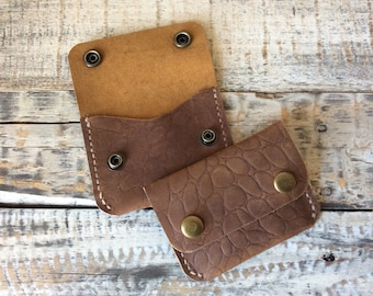 Leather Minimalist Snap Wallet, Card Holder, Wallet, Everyday Carry Wallet, Slim Wallet