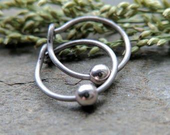 sterling silver hoop earrings titanium hoop earrings surgical steel hoop earrings simple silver hoop earrings quicksilver by thebeadedlily