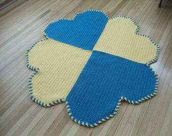 Handmade Crochet Heart Rug