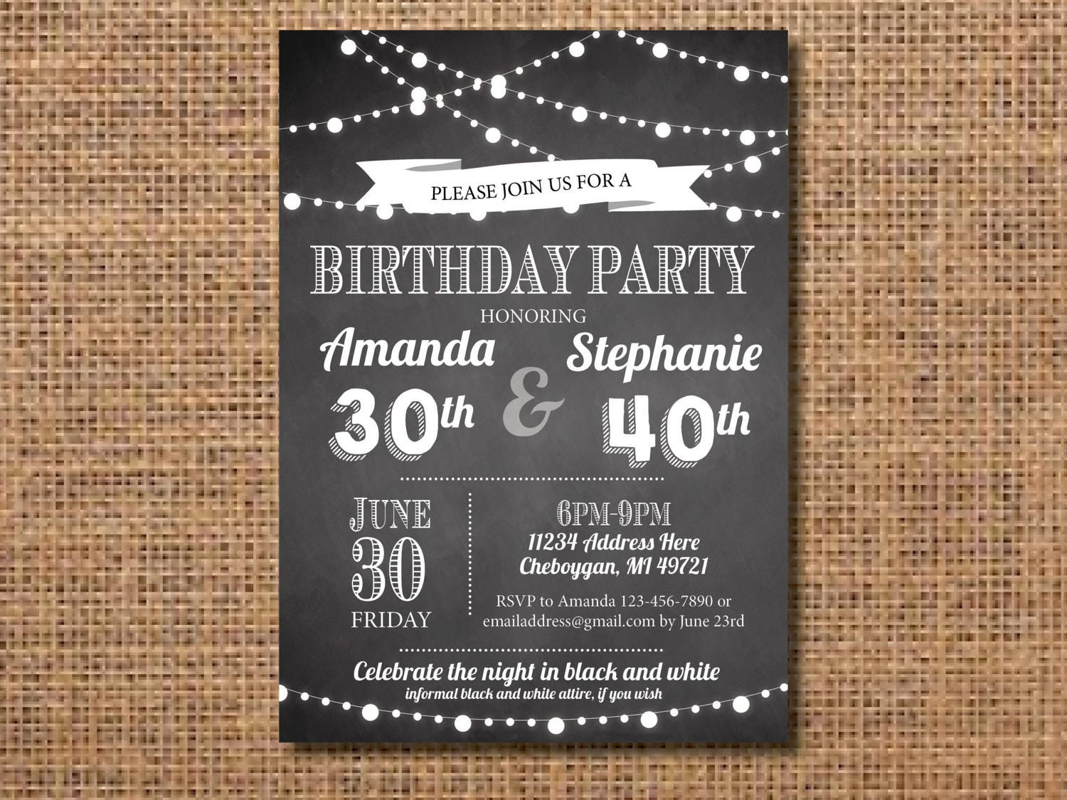 Adult joint birthday party invitation black and white birthday adult joint birthday party invitation black and white birthday invitation black and white invite co birthday party invite joint invite filmwisefo Images