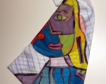 Hand painted Silk Mini - Picasso style - Silk scarflette - 27.5x27.5  (70 x 70 cm) Hand painted Silk scarf. Silk mini-scarf . Woman scarf.