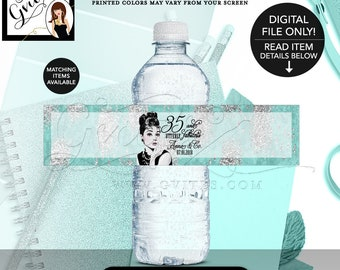 """Audrey Hepburn 35th Birthday Party, Water Bottle Labels Favors, Wrappers, Stickers Gifts, Decorations, Digital File Only {8x2"""" 5 Per/Sheet}."""