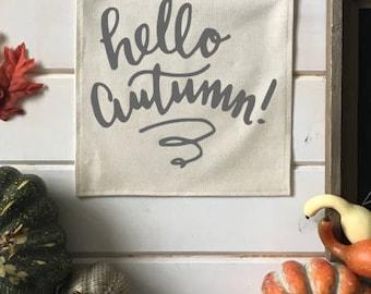 Hello Autumn Fall Banner; Fall Home Decor; Fall Sign; Fall Decoration; Autumn Decor; Fall Leaves