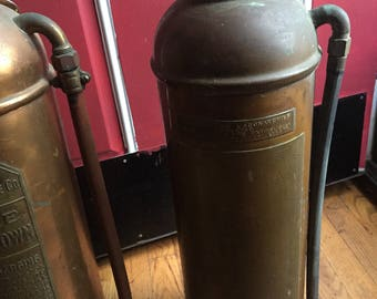 Vintage copper fire extinguisher old safety