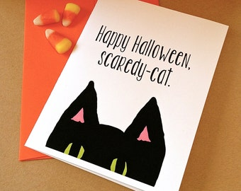 Halloween Card - Scaredy-Cat - Black Cat