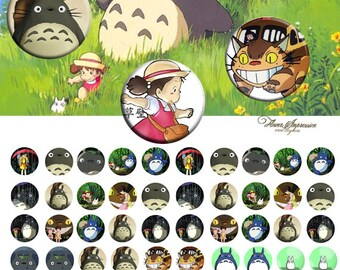 Totoro 12mm -  1/2 inch or 12 mm Images 4x6 Digital Collage INSTANT DOWNLOAD