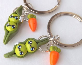 Best Friend Pea Pods, Friendship Keychains, Best Friend Keychains, Pea Pod Keychain, Personalized, Gifts for her, Food Charms, Cute Keychain