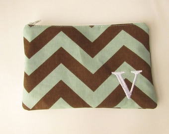 Monogram Make up Bag - V pouch - Ready to Ship - Bridesmaid Makeup bag - Cosmetic bag - Make up Clutch - Monogrammed Gift - Medium