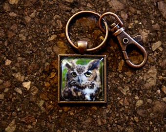 "Great Horned Owl ""Birdu."" Key Fob"