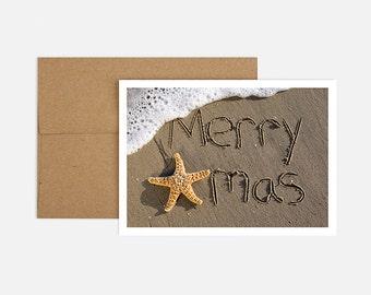 Xmas Starfish - 8 Cards + Kraft Envelopes