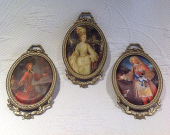 Vintage set 3 oval frames - characters of nobility or French royalty - ornaments - room decor / / made in