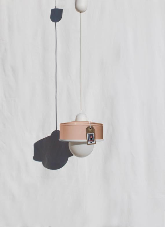 Hanging / pendant / ceiling lamp, light pastel peach / salmon ... eco friendly & handmade : recycled from  coffee can !