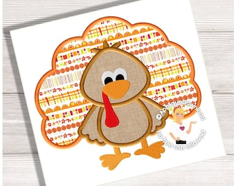 Thanksgiving Turkey Applique Design - Instant EMAIL With Download - 3 sizes - for Embroidery Machines