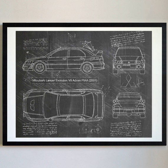 Mitsubishi lancer evolution vii 2001 evo artwork blueprint like this item malvernweather Images