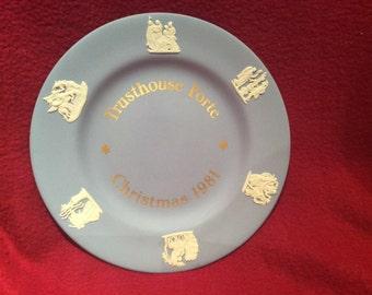 "Wedgwood Trusthouse Forte Christmas 1981 Blue Jasperware 6.5"" Plate"