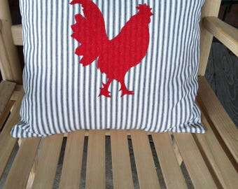 Blue Ticking Pillowcase with Red Rooster