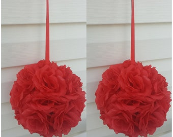 Red Pomander Balls Red Kissing Ball Red Silk Rose Kissing Ball Silk Rose Pomander Ball Red Centerpieces Wedding Kissing ball Silk Rose ball