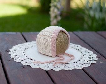 Hand-Knit Cream Organic Cotton Bonnet, Suitable for Warm Weather (Newborn - 3 Months)