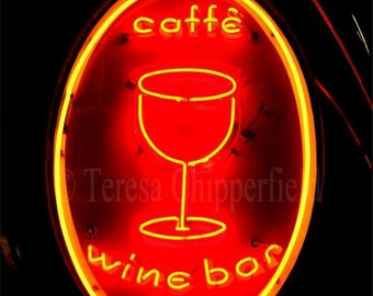 Wine Bar Neon Sign Photo, Cafe Sign Print, Wine Glass Sign Print, Glowing Night Sign Print, Landmark Sign Portland Oregon, 16x24, 8x12,12x18