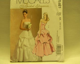 Uncut McCall's Pattern 5321 Bridal Elegance Wedding Gown, Bridesmaid Dress, Party, Prom