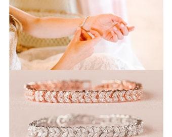 Rose gold Wedding Bracelet, Crystal Bridal Bracelet, Gold Bracelet, Bridesmaid jewelry, Marquise Crystal Bracelet, Natalie Bracelet