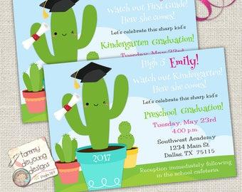 Cactus Graduation Invitation for girls, Digital Preschool Graduation Announcement, Kindergarten Graduation Invite, Customized Evite for kids