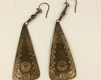 Vintage metal earrings, vintage jewelry, stamped metal earrings, southwestern earrings, vintage southwestern earrings,