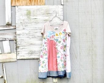 Summer Dress, Womens Tunic, Upcycled Clothing, Tshirt Dress, Spring Dress, Plus Size Dress, Floral, Tunic, Upcycled Dress, CreoleSha