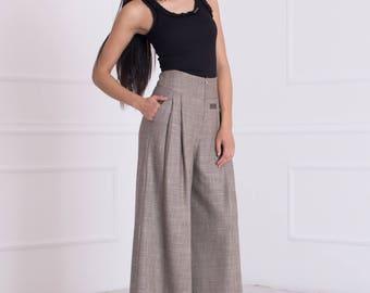 Wide Leg Pants/ Palazzo Pants/ High Waisted Pants/ Pants With Pockets/ Maxi Pants/ Loose Pants/Pants Skirt/Wide Leg Trousers/Friends Fashion