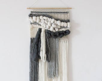 Large woven wall hanging   Woven tapestry weaving   Woven wall art   Textile wall weaving   Fiber art   Grey white handwoven tapestry