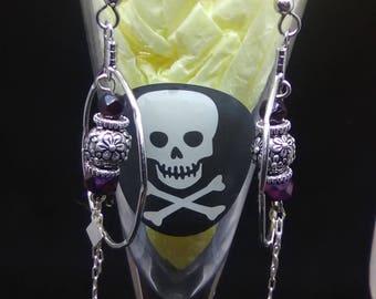 Purple and pewter dangle earrings