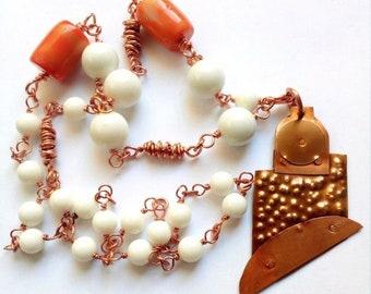 Koperen ketting, witte Agaat sint. bamboe koraal-draads techniek