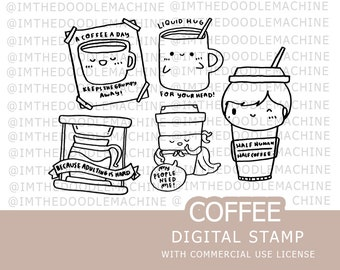 Digital Stamps | Coffee Coffee lover Clipart printable