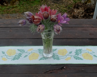 Vintage hand embroidered floral doily table runner small tablecloth  table topper