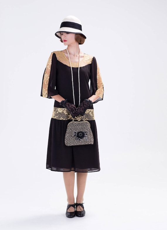 1920s Day Dresses, Tea Dresses, Mature Dresses with Sleeves Great Gatsby dress in black and gold $140.00 AT vintagedancer.com