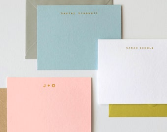 Personalized Gold Foil Stationery | Mix & Match Colors | Custom Name or Initials | Set of 50