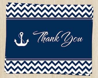 Nautical Thank You Notes, Bridal, Wedding Shower or Baby, Navy Blue, with Anchor, Set of 20 Folding Notes, FREE Ship, NALOV, Nautical Love