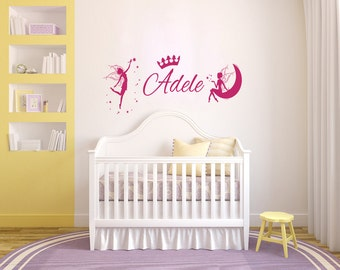 Fairies on the Moon Wall Decals Personalized Name Sticker Vinyl  Fairy Decal Girl Nursery Decor Home Bedroom kids Dorm L536