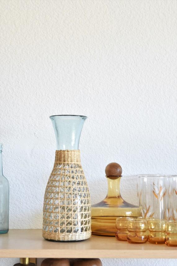 boho bohemian tall woven straw glass vase
