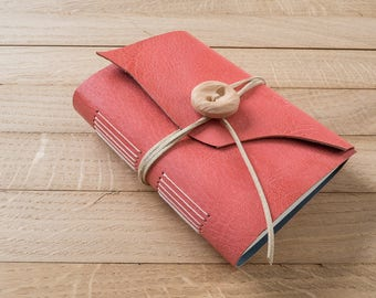 Pink leather longstitch journal, handbound blank notebook, button and tie closure, pink notebook, wraparound cover
